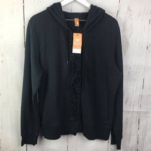 Lucy Black Ruffle Hoodie Zip Up Jacket NWT